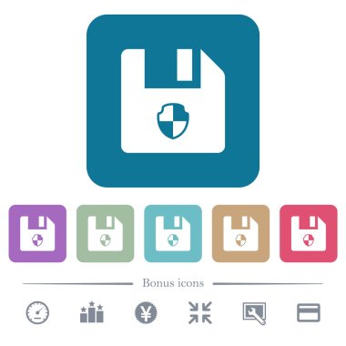 Protect file white flat icons on color rounded square backgrounds. 6 bonus icons included
