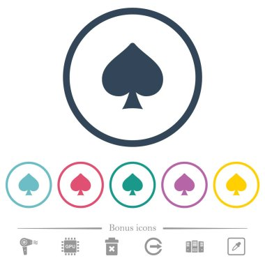 Spades card symbol flat color icons in round outlines