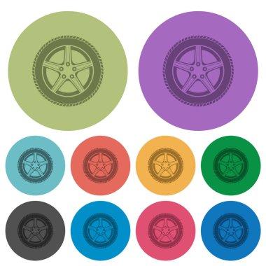 Car wheel color darker flat icons