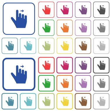 Right handed move right gesture color flat icons in rounded square frames. Thin and thick versions included. icon