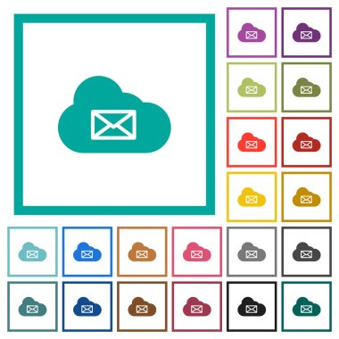 Cloud mail system flat color icons with quadrant frames on white background icon