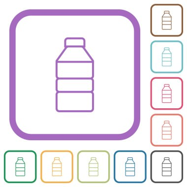 Water bottle simple icons in color rounded square frames on white background icon