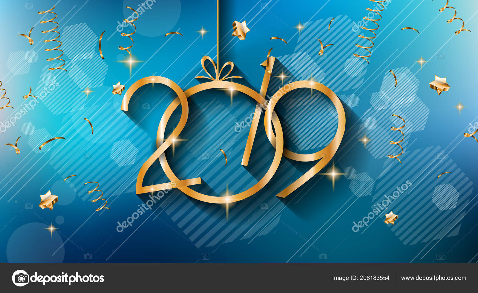 2019 Happy New Year Background Your Seasonal Flyers Greetings Card