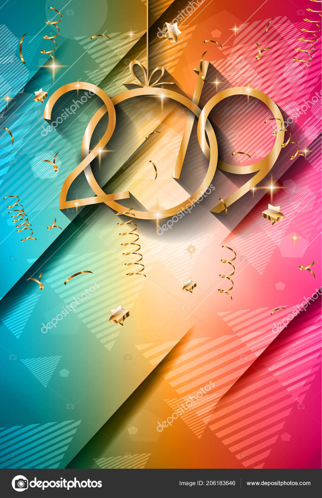 2019 happy new year background for your seasonal flyers and greetings card or christmas themed invitations vector by davidarts