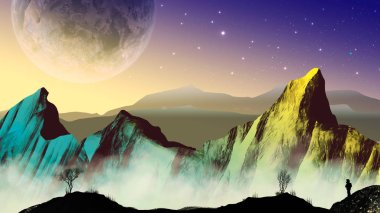 Explorer astronaut in sci-fi landscape with planet and mountains. Elements furnished to NASA