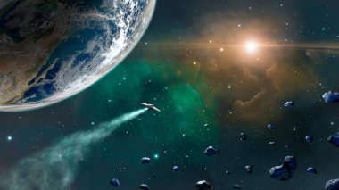 Space scene. Green and orange nebula with earth planet, spaceship and asteroids. Elements furnished by NASA. 3D rendering