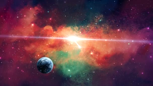 Space scene. Earth planet in colorful nebula and stars. Elements furnished by NASA. 3D rendering.