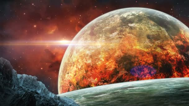 Space scene. Firing planet with red nebula and asteroid. Elements furnished by NASA. 3D rendering