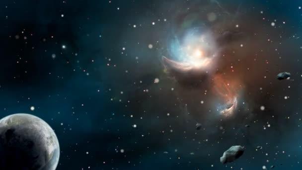Fly přes Soví mlhovina ve vesmíru, planety a asteroidy