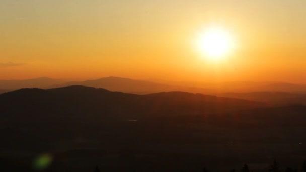 Sunset on hill from Kravi mountain, Czech landscape