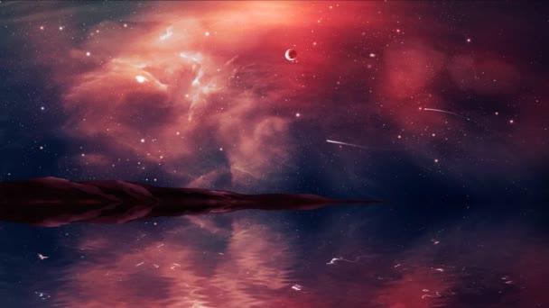 Sci-Fi krajiny digitální obraz s drakem v mlhovina, kouzelník, planety, hory a jezera v červené barvě. Prvky, které Nasa. 3D vykreslování.