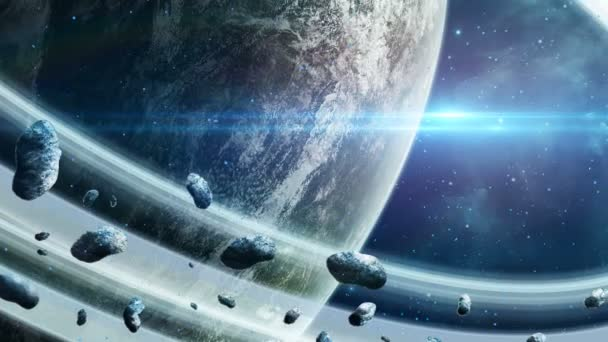 Space scene. Planet with ring and asteroids with blue light. Elements furnished by NASA. 3D rendering