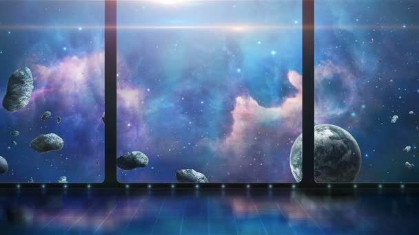 3D room with space scene, planets and asteroids