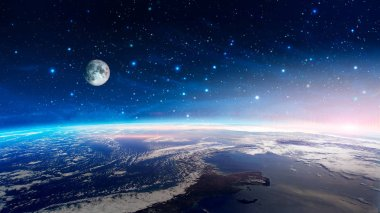 Space scene. Colorful nebula with earth planet and moon with stars. Elements furnished by NASA. 3D rendering