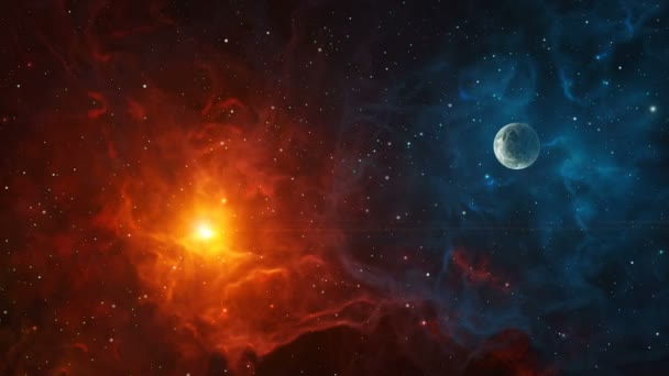 Space background. Fly through colorful nebula with planet. Elements furnished by NASA. 3D rendering