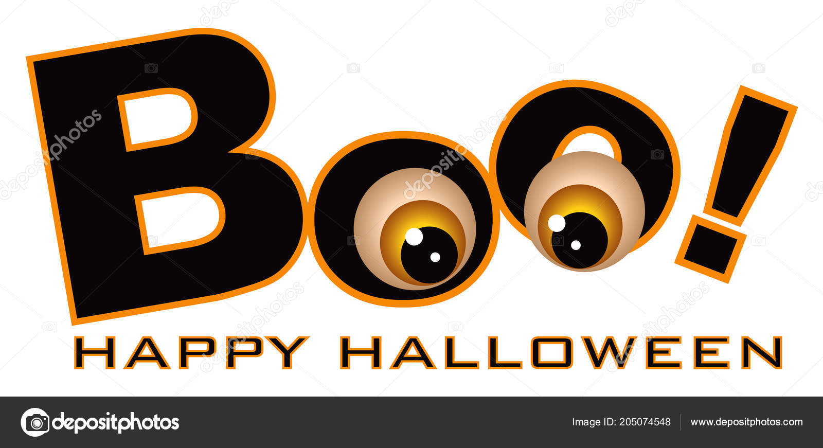 Happy Halloween Boo Text Funny Eye Balls Color Isolated White