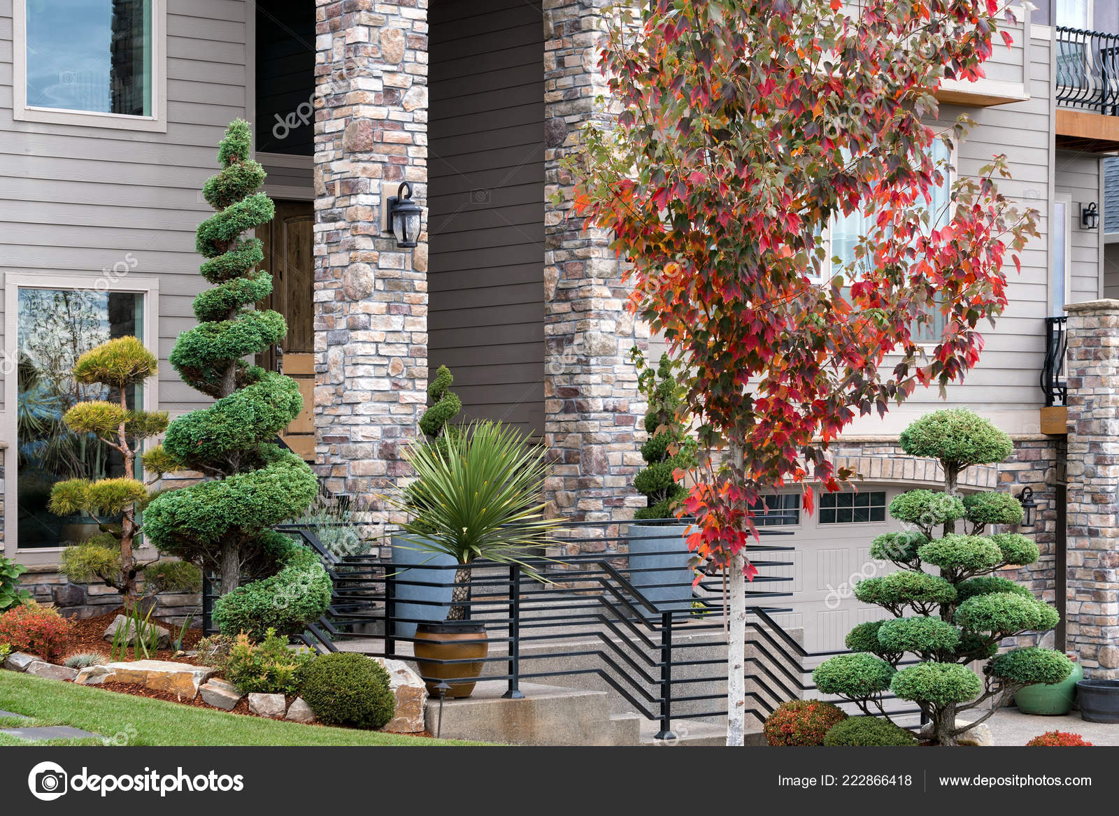 Manicured Garden Front Yard Home Topiary Trees Potted Plants