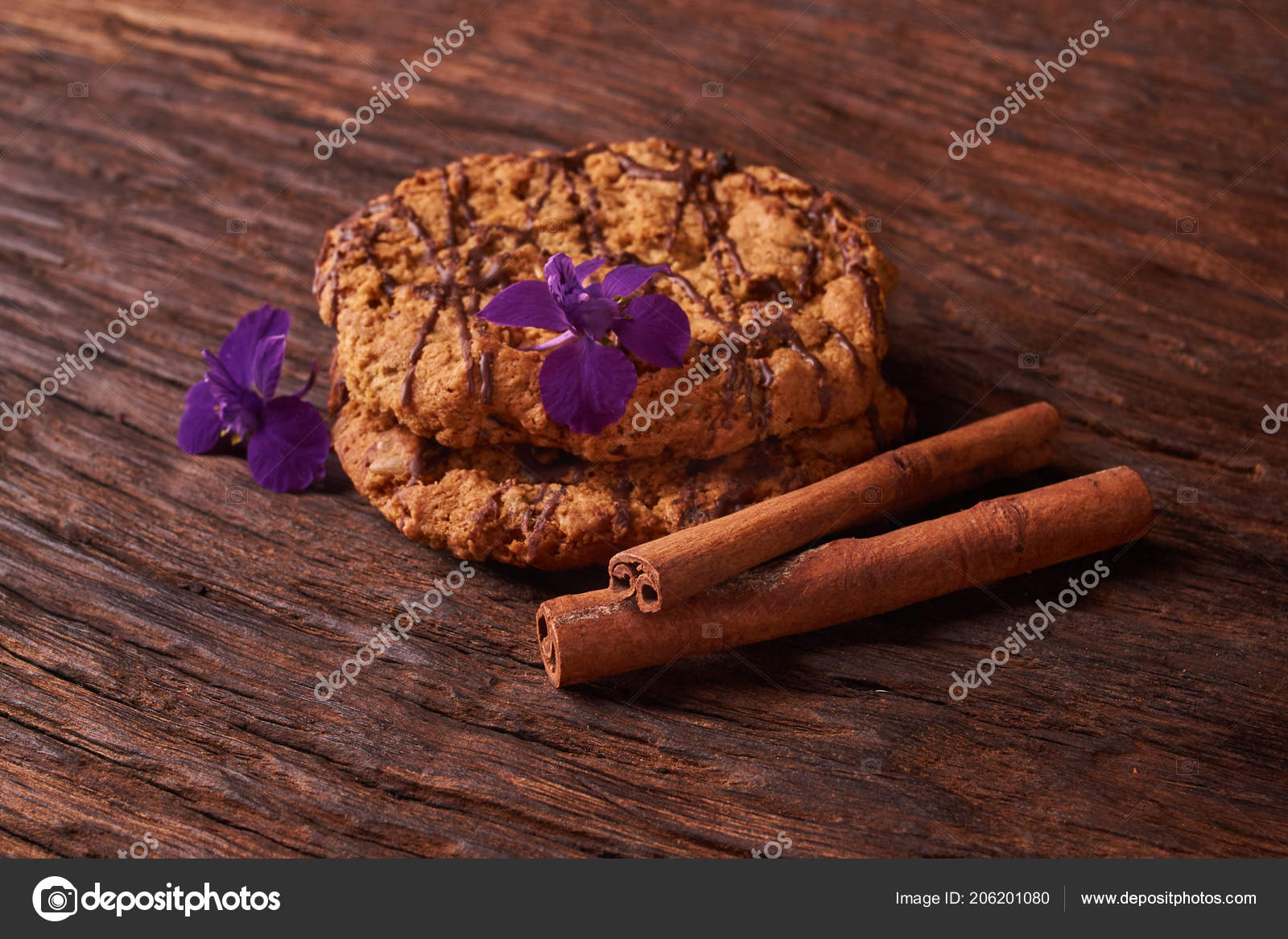 Watered Chocolate Syrup Cookies Wooden Table Cute Composition