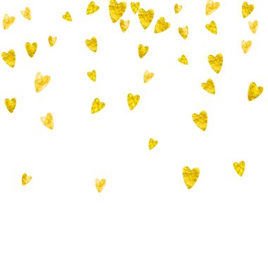 Heart frame background with gold glitter hearts. Valentines day. Vector confetti. Hand drawn texture.
