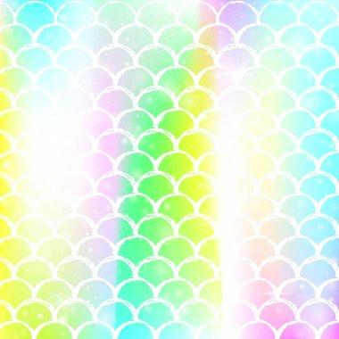 Princess mermaid background with kawaii rainbow scales pattern.