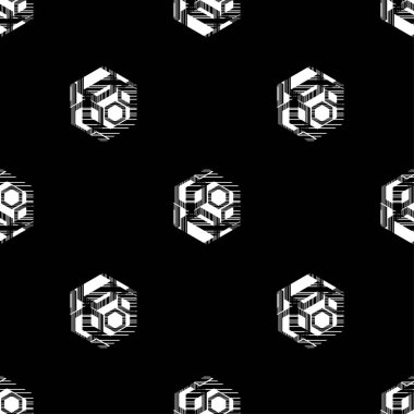 Seamless abstract geometric pattern. Shapes of hexagons. Vector pattern. Mosaic texture. Scribble texture. Can be used for wallpaper, textile, invitation card, wrapping, web page background.