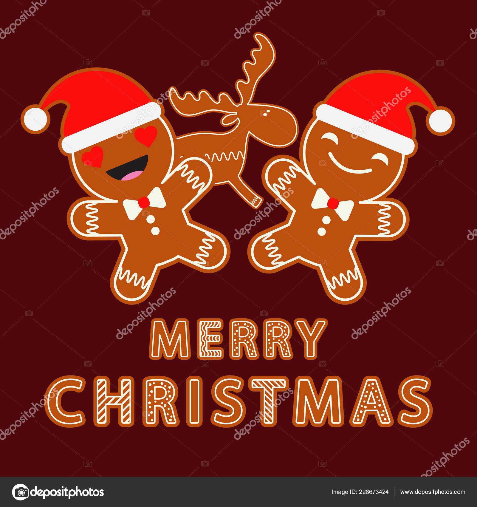 depositphotos 228673424 stock illustration gingerbread brown background christmas gingerman