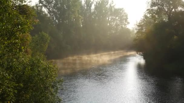 Morning River at the Sunrise. Ohre River. Czech Republic. Zoom in.