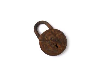 Amber lock, vintage lock, padlock ,. old lock, key lock, brown, rusty lock, white background, close-up, Soviet vintage, antique lock, worn lock, USSR, Soviet lock, headstock stock image, Nostalgishop