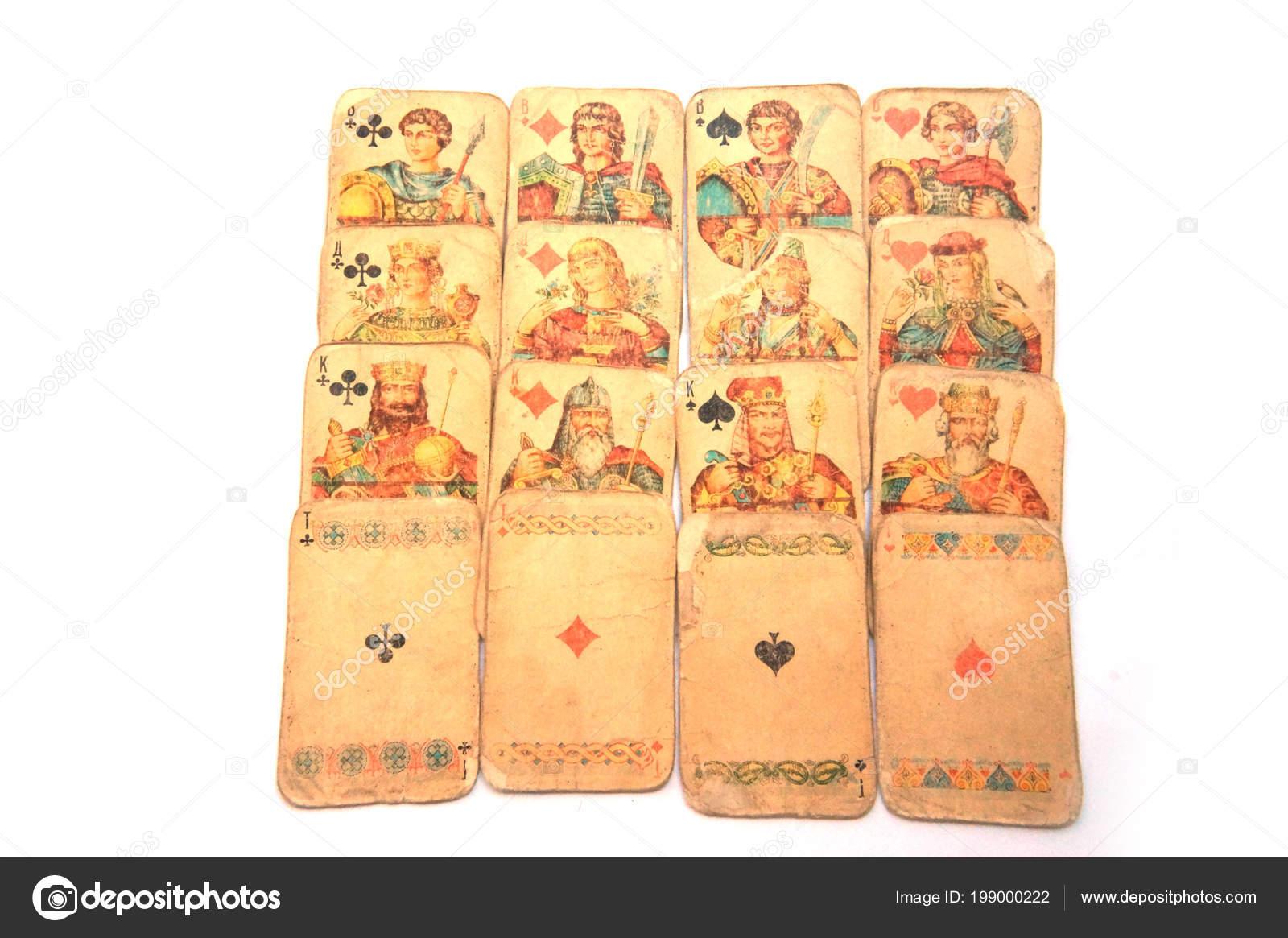 Vintage Jugando Las Cartas Naipes Juegos Azar Club Juego Mesa Foto