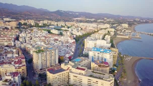 Aerial cityscape of Marbella by the sunset, Spain