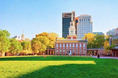 Philadelphia, USA - May 5, 2015: Independence Hall on Chestnut Street in Philadelphia, Pennsylvania, USA. It is the place where the US Constitution and the US Declaration of Independence were adopted.