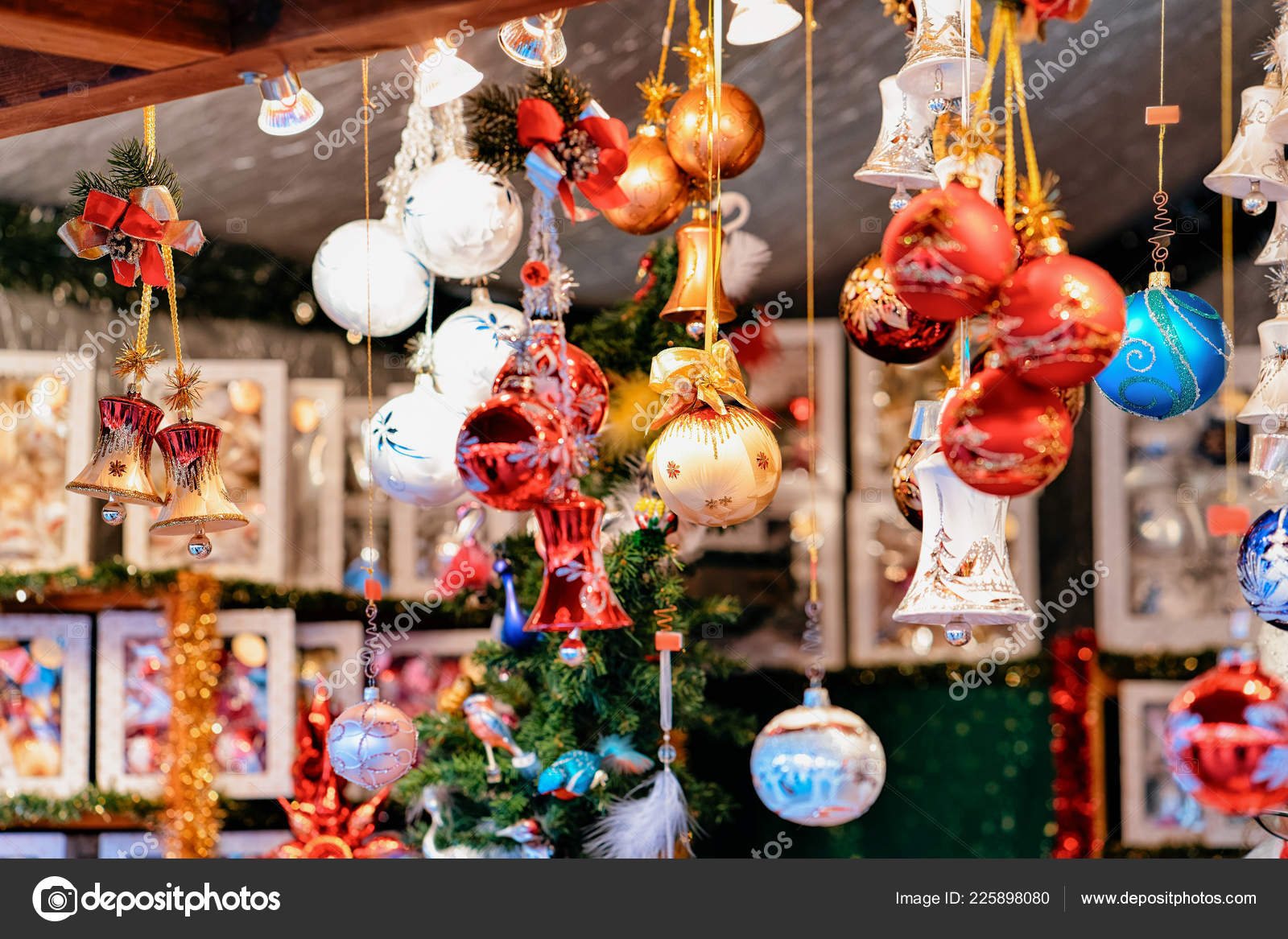 Christmas Tree Decorations Christmas Market Town Hall Winter Berlin Germany– stock image
