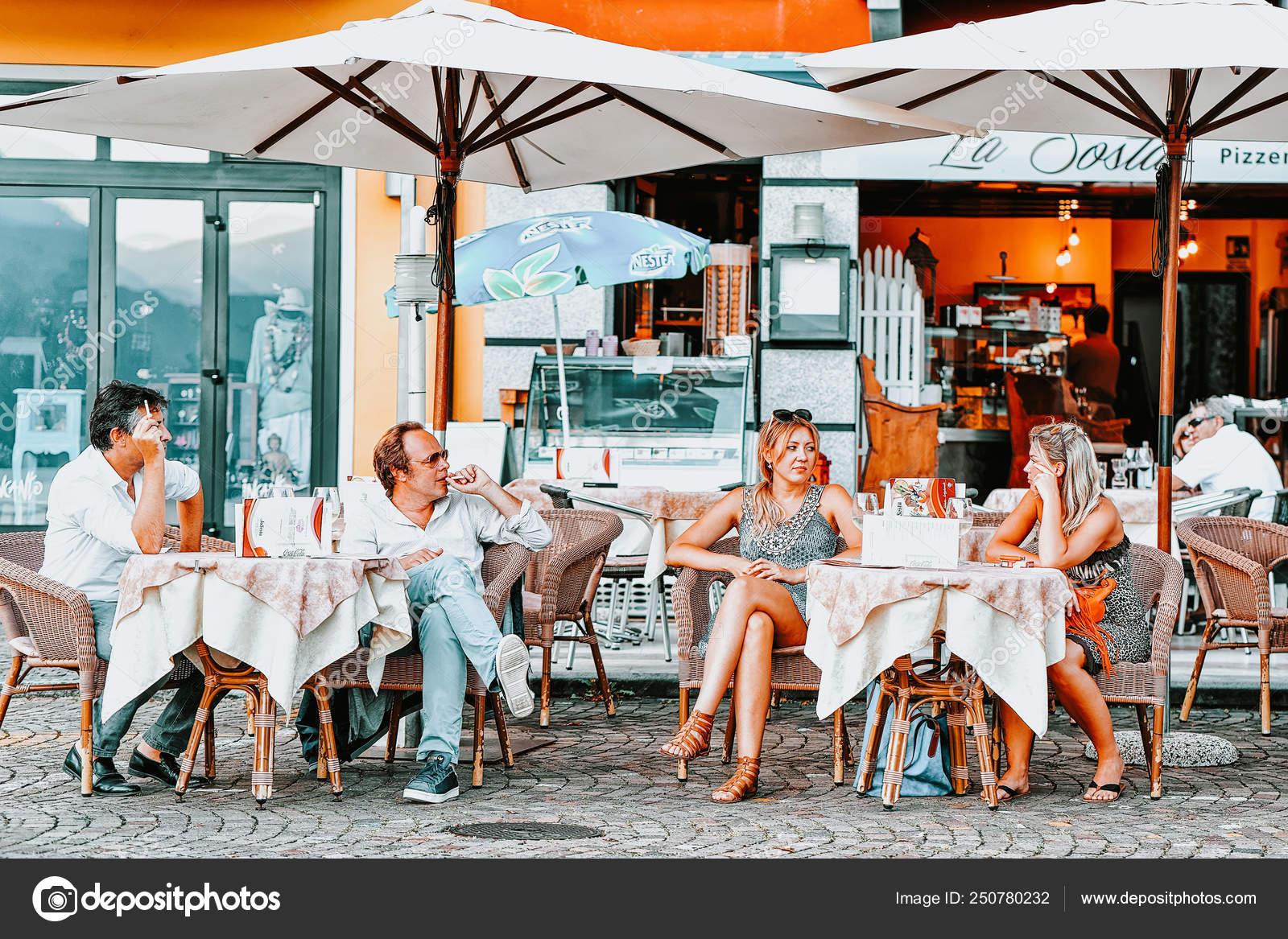 People In Street Cafe In Romantic Luxury Resort Ascona Stock Editorial Photo C Erix2005 250780232