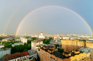 Aerial view with Rainbow on Christ Savior Cathedral in Moscow