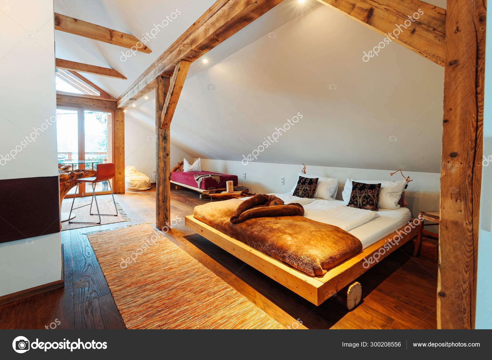 Interior Of Bedroom Modern Wood Design Of Bed Stock Photo C Erix2005 300208556