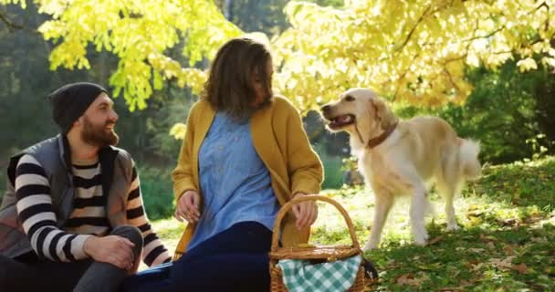 Portrait shot of young happy man and woman sitting in the autumn park and playing with their labrador on the autumn day. Cute dog barking and playing with a stick. Outdoor