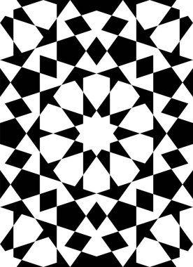 Seamless geometric ornament based on traditional islamic art.Black figures on white background.Great design for fabric,textile,cover,wrapping paper,background.