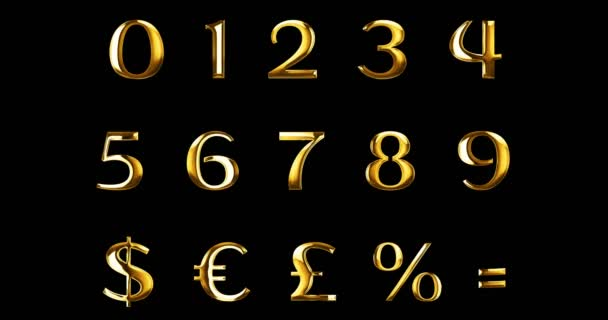 vintage yellow gold metallic numeric letters word text series with dollar, percent, symbol sign on black background, concept of golden luxury number decoration text
