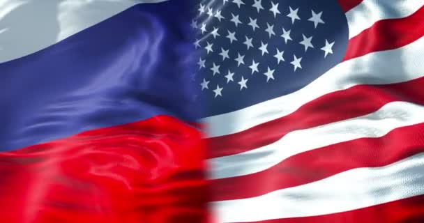half flags of united states of america and half russa flag, wind waving movement,crisis between usa american and russian federation international meeting or negotiations concept