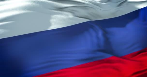 vlajka Rusko mávat ve větru, vlajka Ruské federace, zblízka, pojem vlastenectví