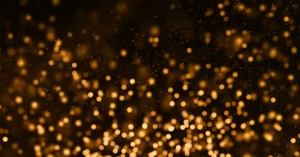 Christmas gold gradient sparkle glitter dust particles from top on black  background with bokeh flowing movement, golden holiday happy new year and  valentine day love, relationship concept
