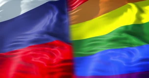 polovina mává barevné gay hrdosti Duhová vlajka a půl ruské mávání vlajkami, občanské právo označit v Rusku bezešvé opakování, mír v pojetí světa