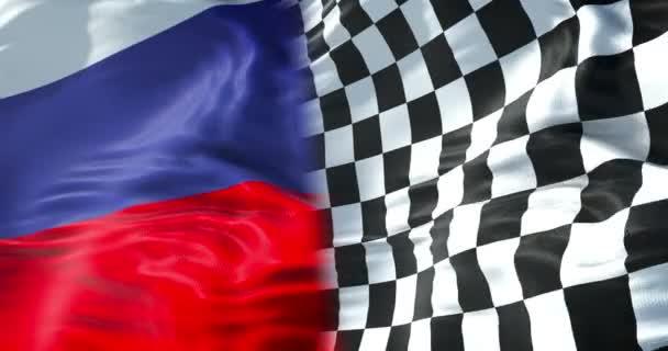 Halb Flagge der karierten Flagge, Ende des Rennens und halb Flagge des russischen Verbandes, russischer Sport Formel 1 Wettbewerb Konzep