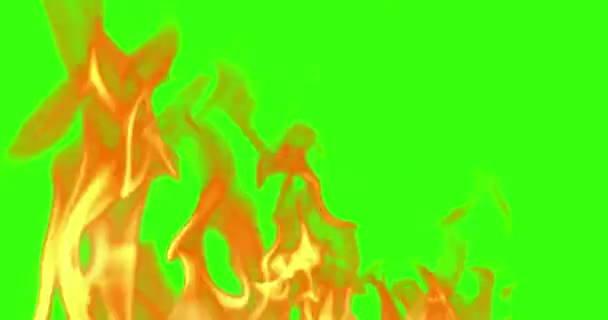 abstract real fire flames burn movement on chroma key green screen, with alpha channel background loop seamless