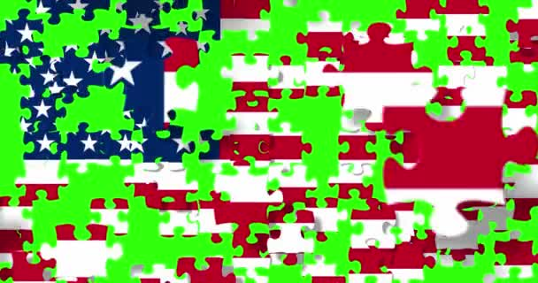 united states of america flag on puzzle pieces background, falling down on chroma key green screen background, usa vote election, meeting or negotiations concept,with alpha