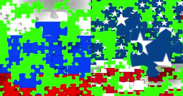 half flags of united states of america and half russian flag with puzzle pieces background falling down on chroma key green screen background, crisis between usa american and russian federation