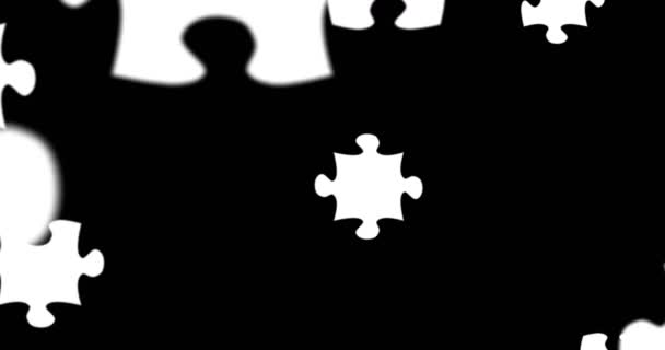 many puzzle pieces with color white falling down on black screen background, abstract motion background, new idea solve problem