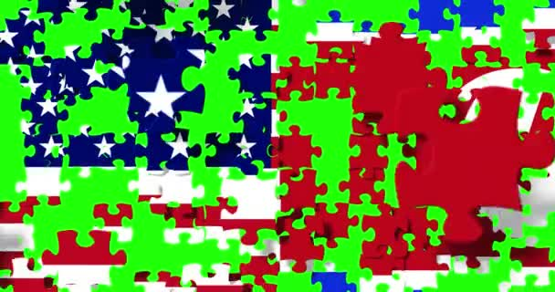 half north korea flag and half united states of america flag on puzzle pieces background, falling down on chroma key green screen