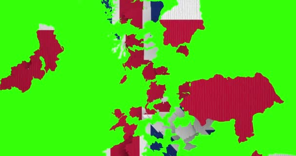 brexit half uk great britain united kingdom flag on great britain map puzzle pieces falling down on chroma key green screen background, vote for united kingdom exit concept, with alpha channel