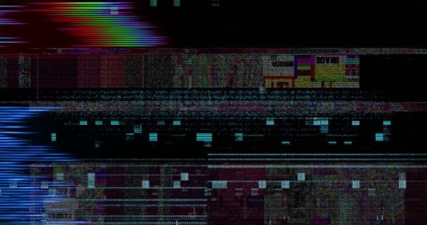 abstrakte mehrfarbige realistische Bildschirmflimmern, analoges Vintage-TV-Signal mit schlechten Interferenzen und Farbbalken, statischer Rauschhintergrund, Overlay